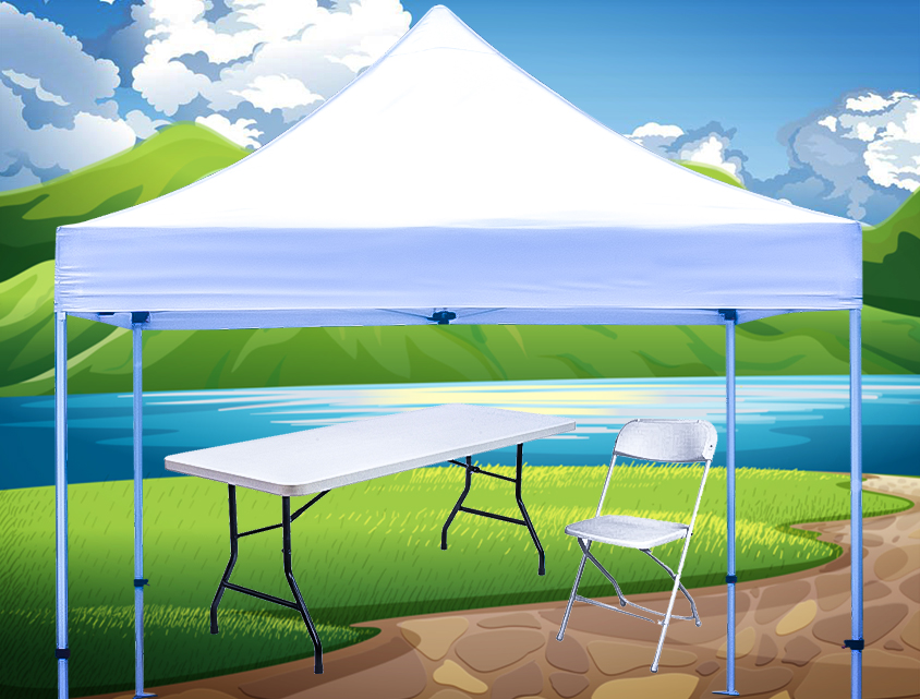 Party tent, tables, and chairs near me
