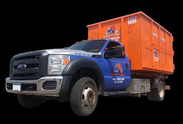 Photo of orange 20 yard dumpster on Blue Haul it a Day Truck