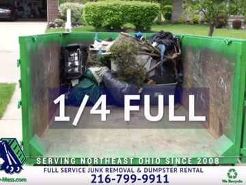 Shown here is a 1/4 full truckload of full service junk removal.