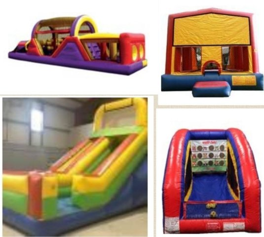 40 FT RUSH, 18ft Dry Slide, Bounce House, Owl Toss
