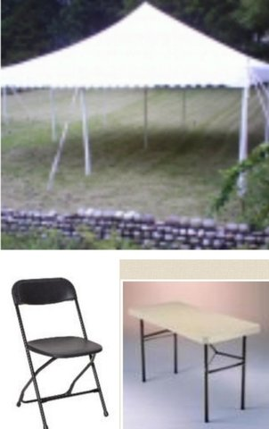 Tent 20X20  25 Folding Chairs and 4 Tables