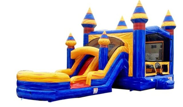 Marble Bounce House Combo Water Slide