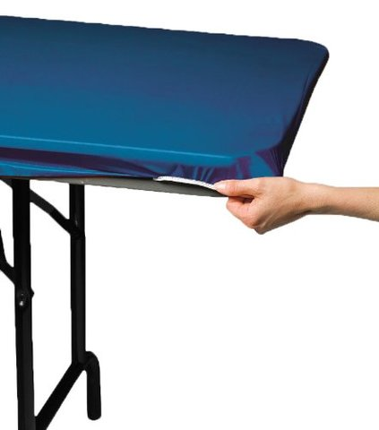 Solid Blue Cover (Plastic w/ Elastic) for 6' Rectangular Table