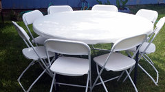 "Package: One 60"" white round table w/ 8 chairs"