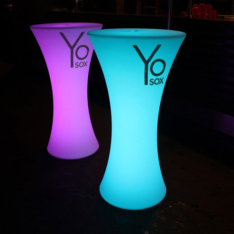 Glow Cocktail Table Rental w/ Custom Graphic