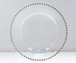 Silver Beaded Glass Charger (clear)