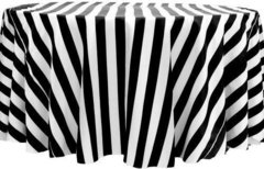 "120"" Black & White Striped Satin (1""stripes)"