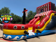 18 Ft. Pirate Slide (Dry)Recommended for ages 6+ Space Needed: 40'L x 17'W x 25'H