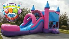 Pink and Blue Combo bounce house with slide (Dry)Recommended for ages 6+ Space Needed: 32'L x 16'W x 19'H