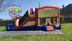 Dual Lane Combo bounce house with slide (Dry)Recommended for ages 6+ Space Needed: 33'L x16'W x16'H