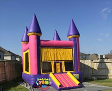 13 x 14 Purple and Yellow Moonwalk with mini slideRecommended for ages 9 and under Space Needed: 18'L x 19'W x 15'H