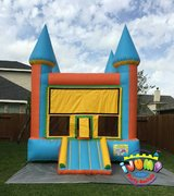13 x 14 Orange and Blue Moonwalk with mini slideRecommended for ages 9 and under Space Needed: 19'L x 18'W x 15'H