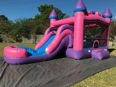Princess Combo bounce house with slide (Dry)Recommended for ages 6 and under Space Needed: 18'L x 19'W x 18'H