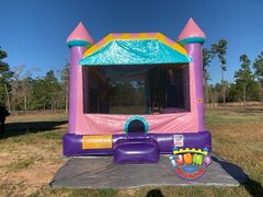 Dazzling Palace Combo bounce house with slideRecommended for ages 6+ Space Needed: 24'L x 19'W x 18'H
