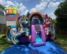 Unicorn All In One Bounce House Combo with Splash Landing Recommended for ages 5+  Space Needed: 21'L x 19'W x 17'H