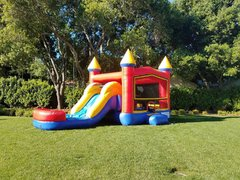 Basic Combo bounce with slide with poolRecommended for ages 6 and under Space Needed: 27′ L X 18′ W X 17′ H