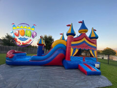 Circus Dual Lane Combo Bounce house slide with Splash landingRecommended for ages 6+ Space Needed: 43'L X 19'W X 20'H