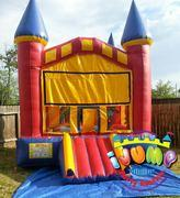 13 x 14 Castle Moonwalk with mini slideRecommended for ages 9 and under Space Needed: 18'L x 19'W x 15'H