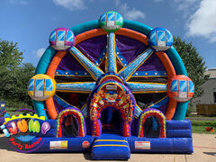Ferris Wheel 5 in 1 Bounce house with slide Combo Recommended for ages 6+ Space Needed: 22'L x 23'W x 20'H