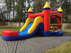 Basic Combo bounce house with slide (Dry)Recommended for ages 6 and under Space Needed: 27′ L X 18′ W X 17′ H