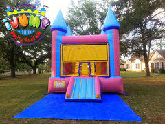 13 x 14 Pink and Blue Moonwalk with mini slideRecommended for ages 9 and under Space Needed: 18'L x 19'W x 15'H