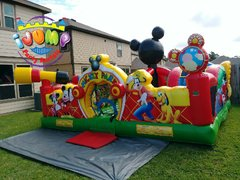 Mickey Learning Club toddler Bounce house obstacle courseRecommended for ages 5 and under Space Needed: 24'L x 24'W x 15'H