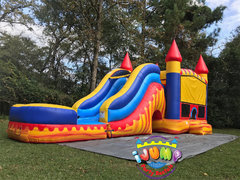 Blaze Combo bounce house with PoolRecommended for ages 6+ Space Needed: 38′ L X 15.5′ W X 18′ H