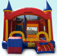 Castle Combo bounce house with slideRecommended for ages 6+ Space Needed: 21'L x 17'W x 16'H
