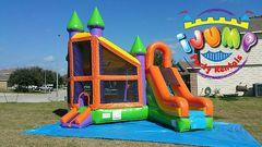 Deluxe combo bounce house with slideRecommended for ages 6+ Space Needed: 23'L x17'W x17'H