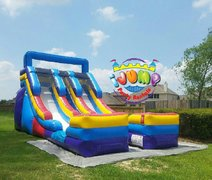 15' Ft. Double Lane Slide (Dry)Recommended for ages 6+ Space Needed: 32'L x 19'W x 19'H