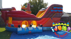 Pirate Combo bounce house area with slideRecommended for ages 7 and under Space Needed: 23'L x1'5 W x15' H