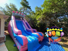 18' Ft. Princess Slide (Dry)Recommended for ages 6+ Space Needed: 40'L x 16'W x 20'H