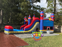 Rocket Dual Lane Combo bounce house with Splash LandingRecommended for ages 6+ Space Needed: 40'L X 16'W X 20'H