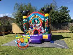 10 x 10 SMALL Mickey & Friends MoonwalkRecommended for ages 6 and under Space Needed: 12'W x 12'W x 12'H