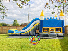Titan Combo bounce house with PoolRecommended for ages 6+ Space Needed: 38′ L X 15.5′ W X 18′ H