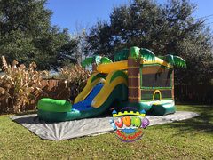 Tropical Combo bounce with slide with poolRecommended for ages 6 and under Space Needed: 27′ L X 18′ W X 17′ H