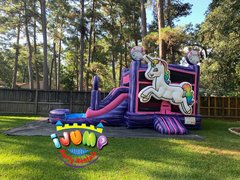 Unicorn Combo bounce with poolRecommended for ages 4 to 9 Space Needed 27' L x 22' W x 17' H