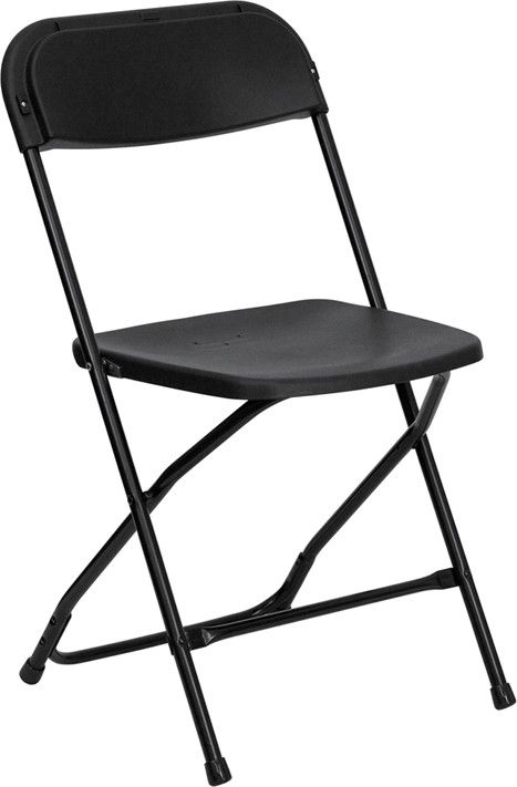 Black folding chairs in Griffith Indiana