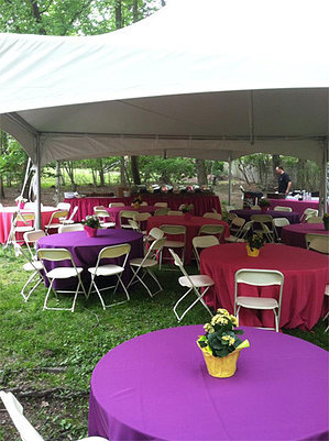 20ft X 40ft one-piece tent, 10 - 5ft round tables, 80 chairs