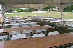 20ft X 20ft tent, 6-8ft banquet tables, and 50 chairs