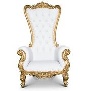 White / Gold Throne Chair