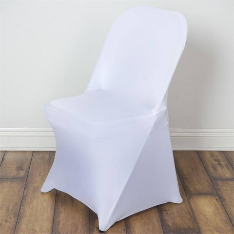 White Spandex Folding Chair Cover (At Your Location)