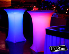 "30"" Round Hi Top Table With Spandex cover & LED Lights(At Our Facility)"