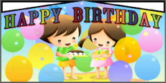 Modular Happy B-day boy and girl banner