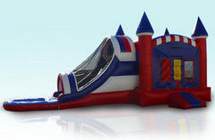 Large Dual Lane All American Waterslide Bouncehouse 5 in 1 Combo (Wet)