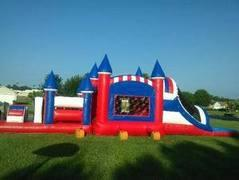 46' Large Dual Lane All American Obstacle Course Waterslide Combo (Wet w/pool)