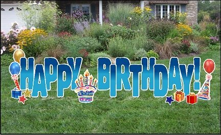 Yard Cards - Happy Birthday Blue Fade 24