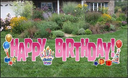 Yard Cards- Happy Birthday Pink Fade 24