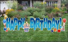 "Yard Cards - Happy Birthday Blue Fade 24"" (ADD ON)"