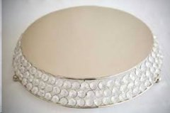 "Cake Stand Crystal round 16"" nickle"